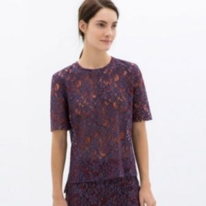 Zara Woman Purple and Red Lace Top M